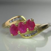 Diamond and Ruby Twist Ring