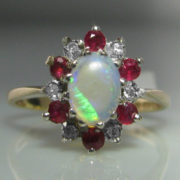 Opal, Diamond and Ruby Ring