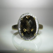 Smokey Quartz Diamond Ring 9K Gold, Jewellery Shop, fine jewellery, Galway, Ireland