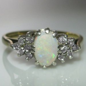 Vintage Opal & Diamond Ring