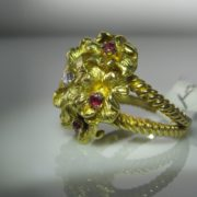 Vintage Cocktail Ring with Rubies & Diamond, Gold and Ruby Ring, Ruby Ring, Jewellers, Jewellery Shop, Galway, Fine Jewellery,