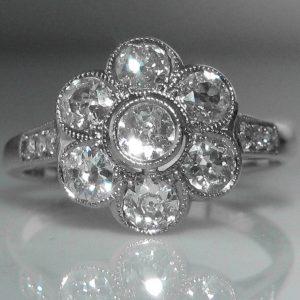 Old Cut Diamond Daisy Cluster Ring