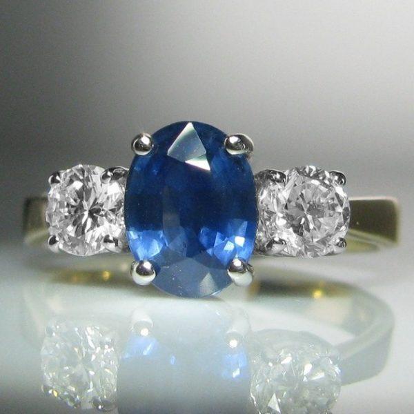 Three Stone Sapphire and Diamond Ring - 1.48cts Sapphire
