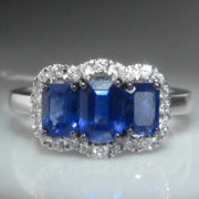 Ceylon Sapphire and Diamond Ring - 18k White Gold