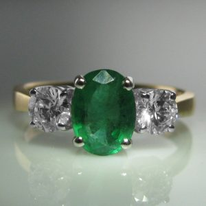 Three Stone Emerald and Diamond Ring - 18k Gold