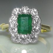 1.1ct Emerald and Diamond Ring