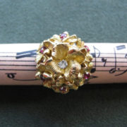 Vintage Cocktail Ring with Rubies & Diamond