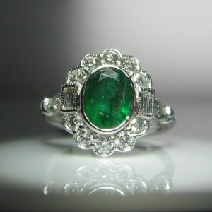 Emerald and Diamond Ring, Jewellery, Galway, Ireland, The Antiques Room