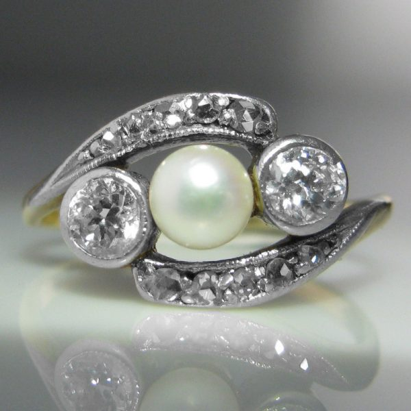 Antique Diamond and Pearl 'Crossover' Ring in Gold and Platinum