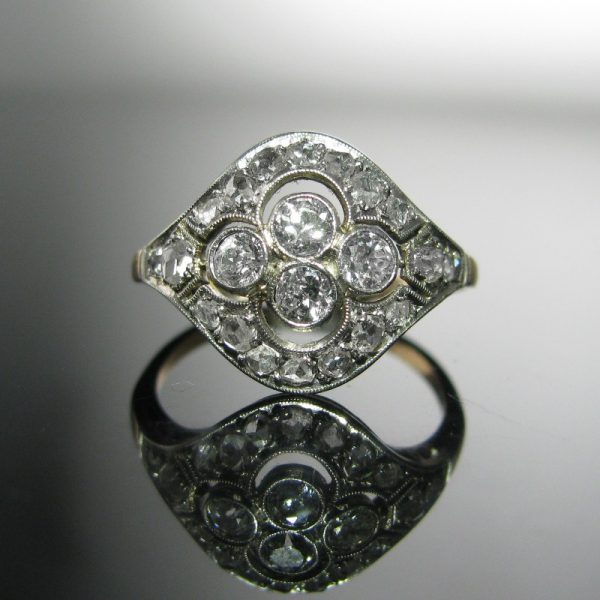 Antique Art Deco Diamond Ring, Old and Rose Cut Diamonds, Antique Ring, The Antiques Room, Jewellery, Galway, West of Ireland