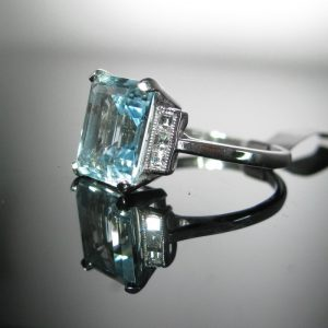 Aquamarine and Diamond Ring, Diamond Ring, Jewellery, Galway, Ireland, The Antiques Room
