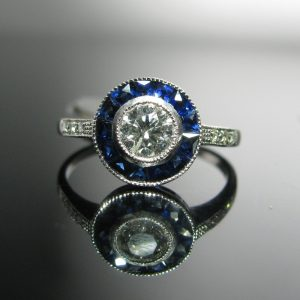 Art Deco Diamond and Sapphire Target Ring, Sapphire Ring, Fine Jewellery, Jewellery Shop, Jewellers, Galway