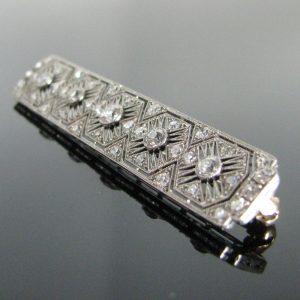 Art Deco Rectangular Diamond Brooch - 2.0ct