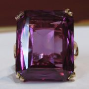 Large Vintage Amethyst Ring in Hand Crafted 14k Rose Gold Setting