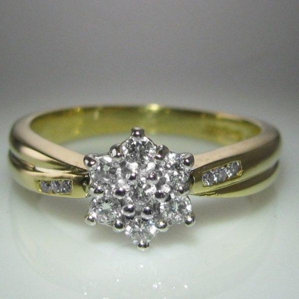 Diamond Cluster Ring in 18k Gold