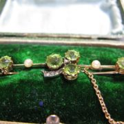 Antique Peridot, Diamond and Pearl Brooch, Shamrock Design, The Antiques Room