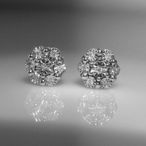 Diamond Cluster Earrings in White Gold, The Antiques Room