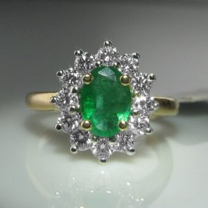 Emerald and Diamond Ring, Emerald Ring, Fine Jewellery, The Antiques Room, Jewellers, Galway
