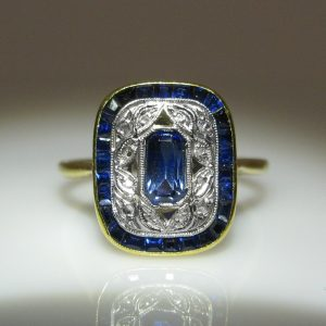 French Deco Diamond and Sapphire Ring, The Antiques Room