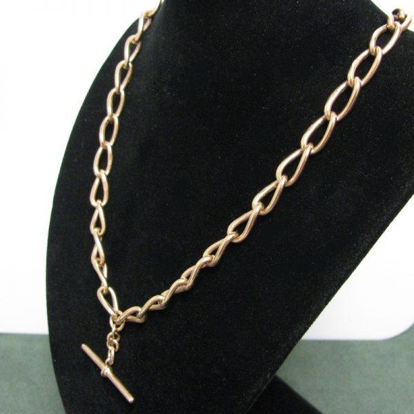 Antique Rose Gold Chain, Curb Link Chain, T Bar Chain