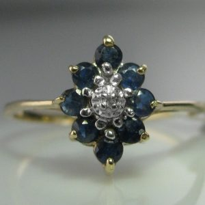Diamond and Sapphire Ring - 10k Gold