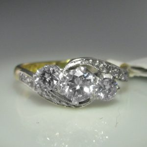 Antique Diamond Twist Ring, Antique Diamond Ring, Antique Engagement Ring