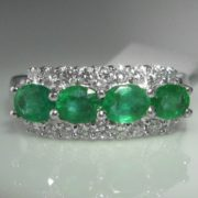 Four Stone Emerald and Diamond Ring - 14k White Gold