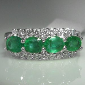 Four Stone Emerald and Diamond Ring - 14k White Gold