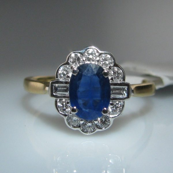 Sapphire and Diamond Ring, Diamond Ring, Gold Ring, Jewellery, Galway, Ireland, The Antiques Room