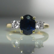Three Stone Oval Sapphire and Diamond Ring - 18k Gold