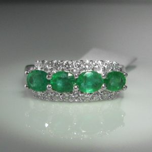 1.08ct Emerald and Diamond Ring, White Gold Emerald Ring, Emerald Engagement Ring