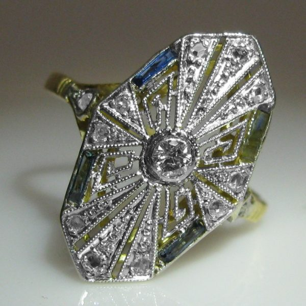 Diamond and Sapphire Ring - Art Deco Style