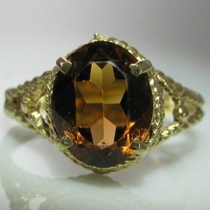 Vintage Yellow Citrine Ring set in 9k Gold - Irish Made