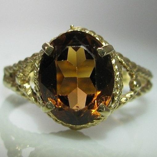 Vintage Yellow Citrine Ring set in 9k Gold - Irish Made