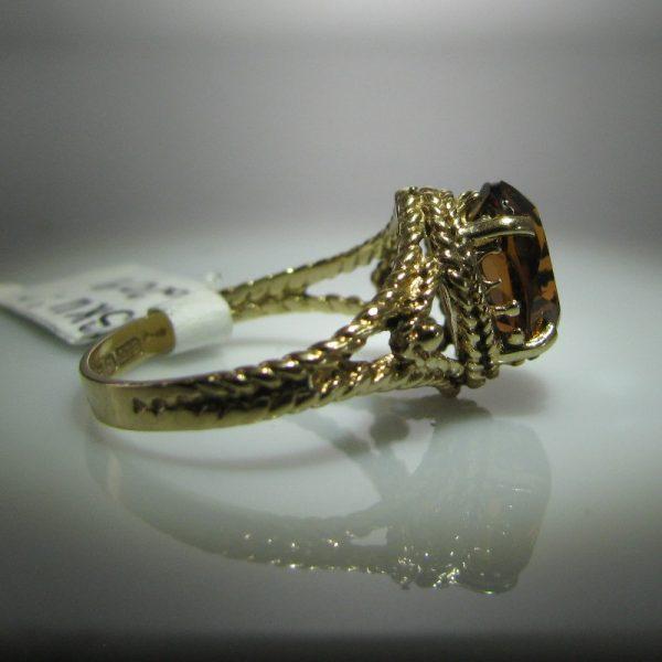 Vintage Yellow Citrine Ring set in 9k Gold – Irish Made