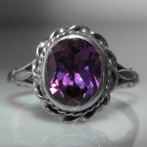 Amethyst Ring in 9k White Gold