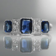 Sapphire And Diamond Ring in Art Deco Style
