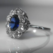 Sapphire and Diamond Cluster set in 18k White Gold