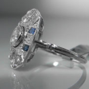 Art Deco Sapphire and Diamond Tablet Ring
