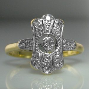 Art Deco Diamond Ring in Platinum and 18k Yellow Gold