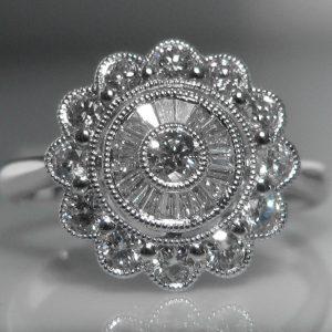 Diamond Cluster Ring in 18k White Gold