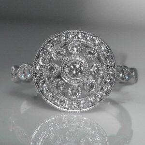 Art Deco Style Diamond Cluster Ring in 18k White Gold