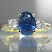 Three Stone Sapphire And Diamond Ring – 1.86ct