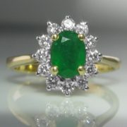 Emerald And Diamond Cluster Ring – 1.1ct