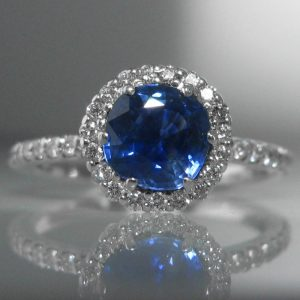 Sapphire and Diamond Ring Halo Ring