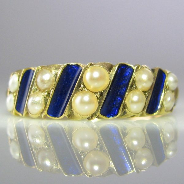 Antique Pearl and Enamel Ring in 18k Gold
