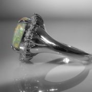 Opal And Diamond Cluster Ring in Platinum