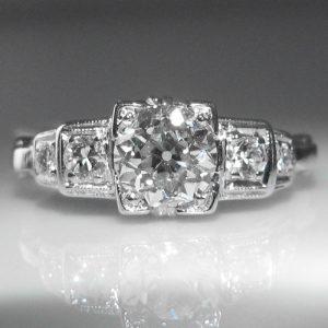 1.0 ct Art Deco Diamond Ring set in Platinum
