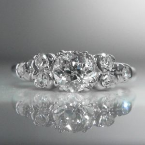 Old Cut Diamond Ring in 18k White Gold