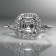 Asscher Cut Diamond Solitaire Ring in Platinum